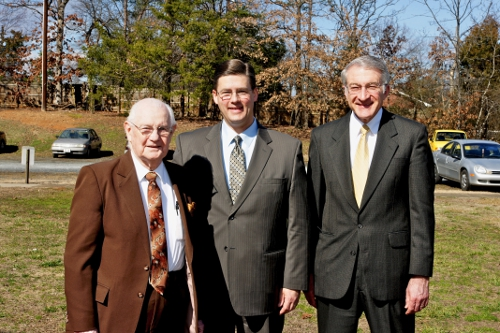 Pastor Hollandsworth (center) with founding pastor Dr. Bruce McAllister (right)  and interim pastor Dr. Ernest Childs (left)